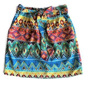 Emmelee Colorful Aztec Tie Waist Skirt - Small